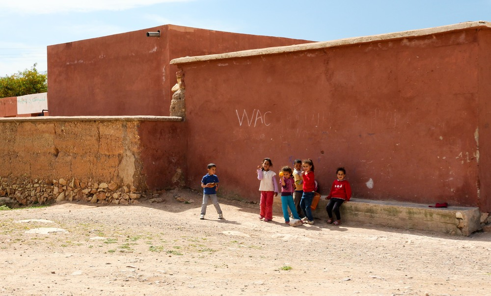 Children outside a school in the Atlas Mountains, Morocco
