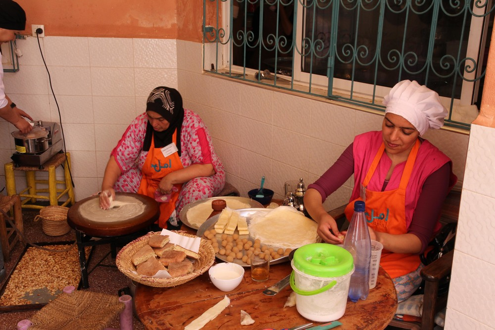 Ladies making pastry at Amal Women's Training Centre & Restaurant, Marrakech