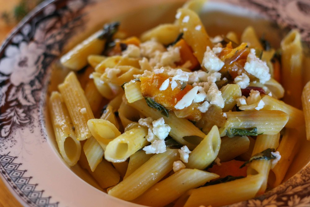 Gluten Free Penne with Pumpkin, Winter Greens & Feta