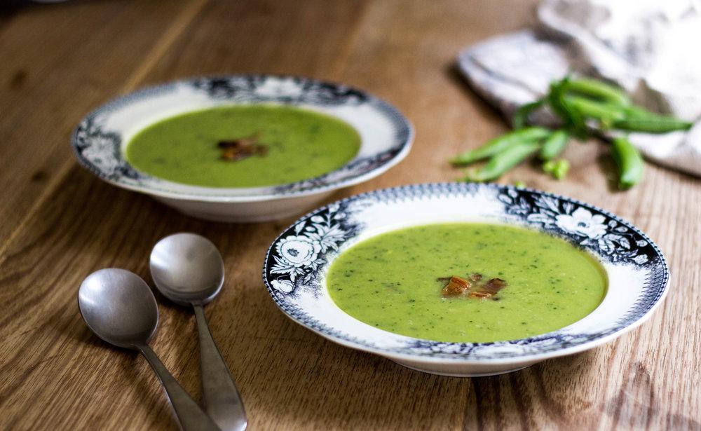 Pea, Zucchini & Pancetta Summertime Soup