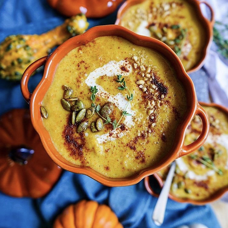 Roasted Acorn Butternut Squash Soup by @foodieinnewyork