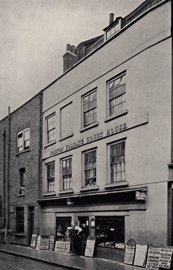 White Lion Court after it had been converted into a shop and private residences, c.1909. Sadly this historic building was demolished in the 1960s.