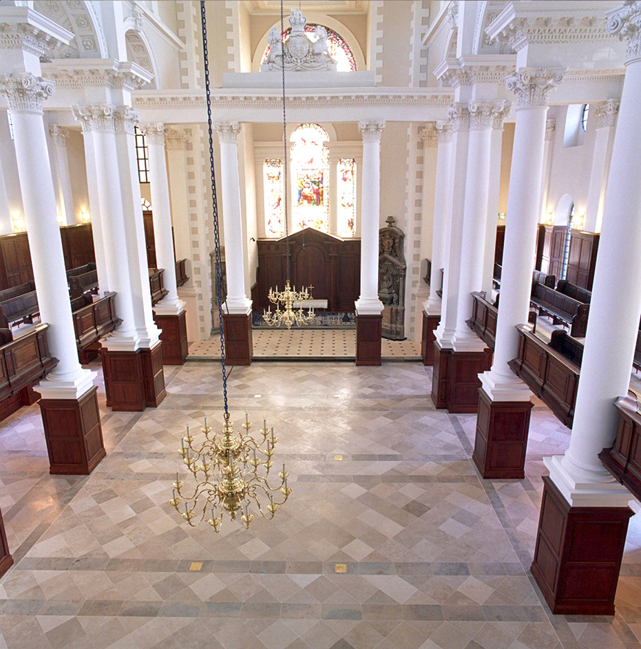 The interior of Christ Church when being prepared for a secular function