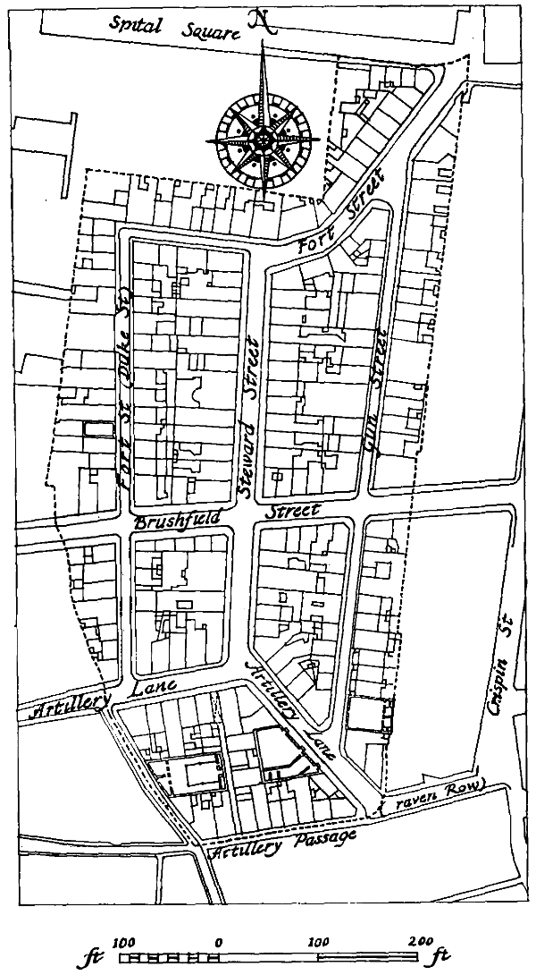 Based on a plan in the Public Record Office and on the Ordnance Survey 1873–5   . . . . Old Artillery Ground Liberty boundary