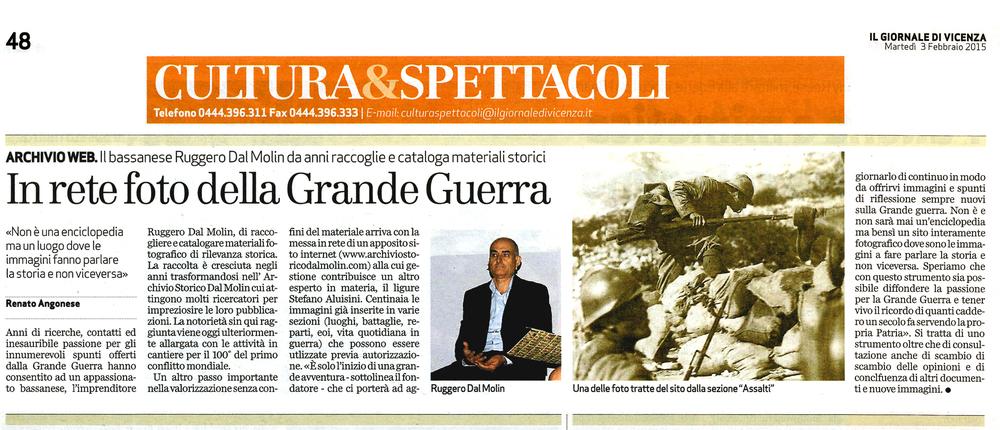 """Da: """"Il Giornale di Vicenza"""" (3 febbraio 2015)"""