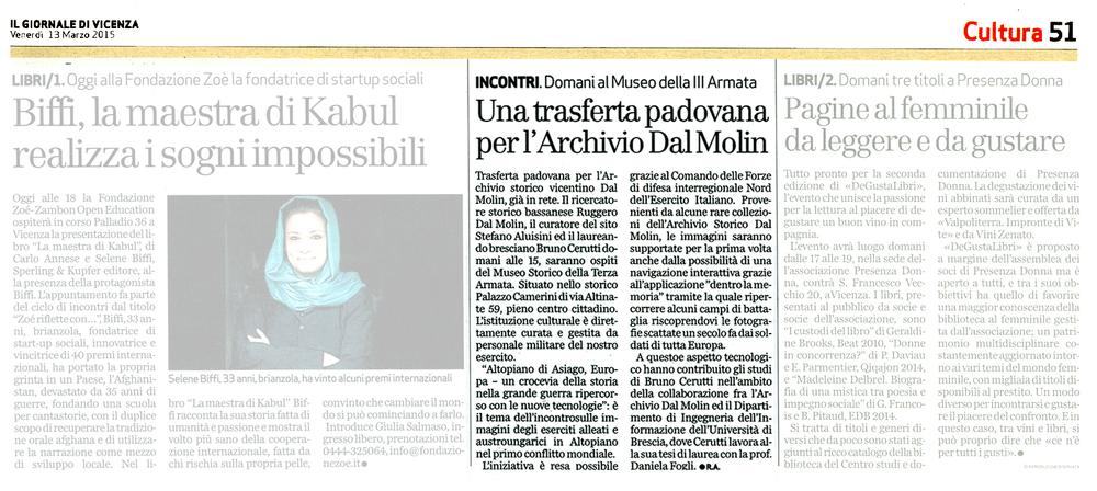 """Un articolo di Renato Angonese su """"Il Giornale di Vicenza"""" di venerdì 13 marzo 2015"""