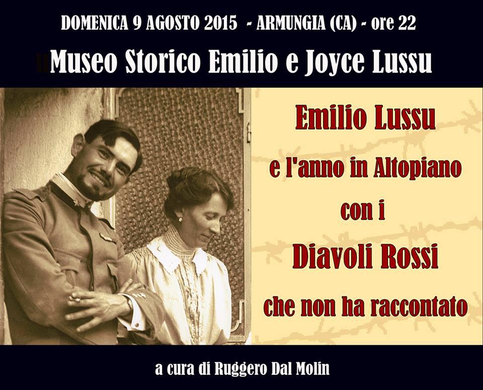 La locandina della serata su Emilio Lussu e Teresa Nardini condotta da R. Dal Molin