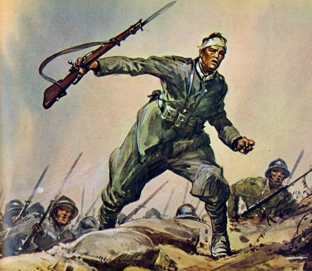 Val Formazza, 19 agosto 1917: l'assalto alla baionetta dei Carabinieri guidati dalla Medaglia d'Argento al Valore Angelo Chinni, falciato da una mitragliatrice (da un quadro di Vittorio Pisani).