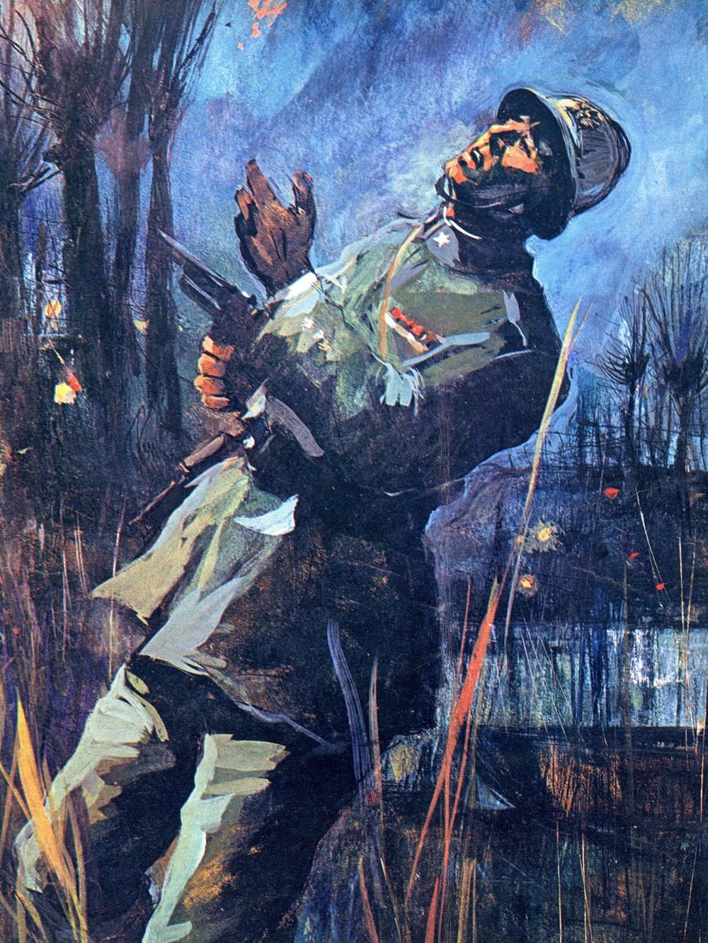 Il Ten. di Vascello Andrea Bafile ripassa il Piave alla ricerca di uno dei suoi Fucilieri di Marina dispersi e viene ucciso sulla riva del fiume (particolare da un disegno del pittore Alfonso Artioli)