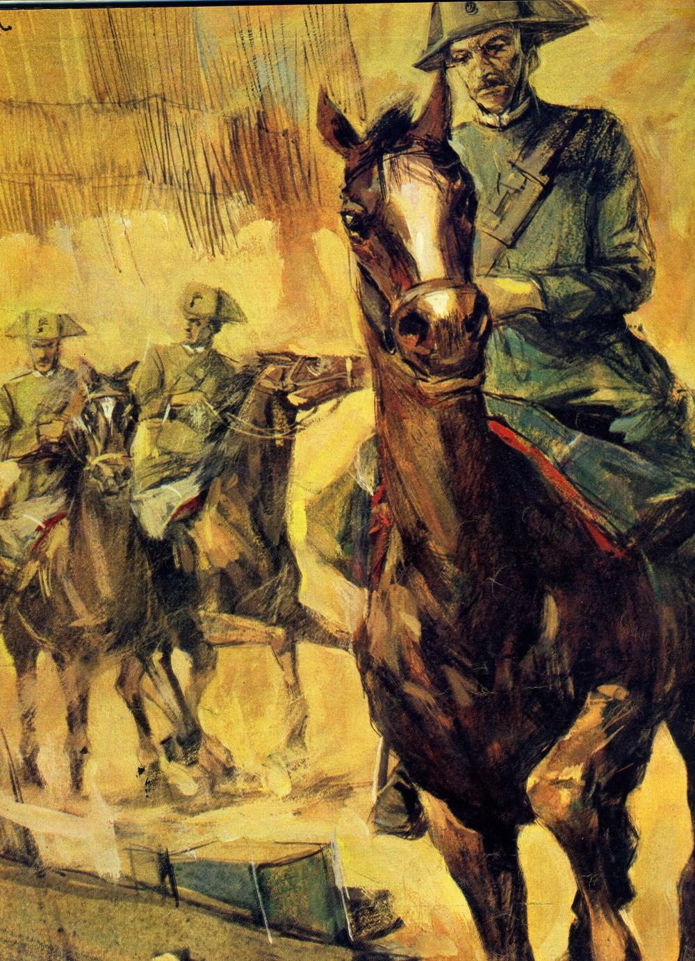 I primi Carabinieri a cavallo entrano in Gorizia liberata il 9 agosto del 1916 (particolare dalla tavola del pittore Alfonso Artioli)