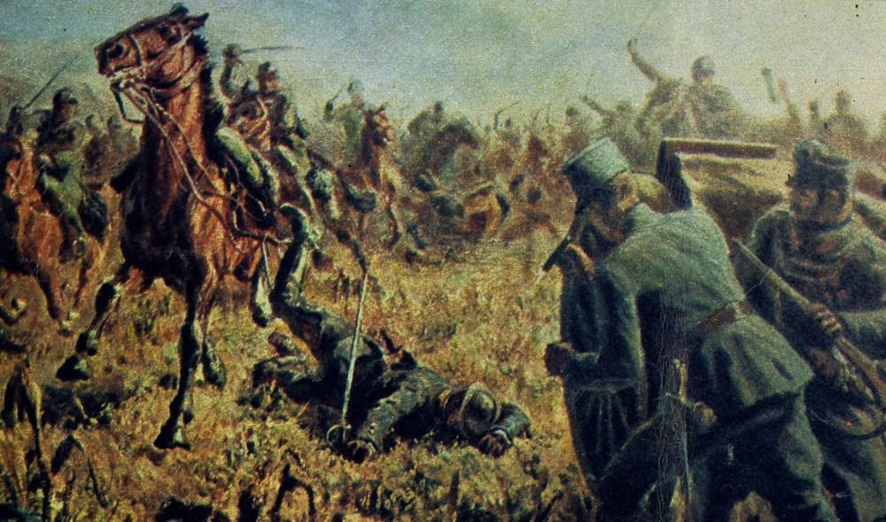 La travolgente carica dei Lancieri di Montebello irrompe nella zona di Tauriano passando tra alcuni pezzi della artiglieria da campagna austroungarica schierati in campo aperto (illustrazione conservata nel Museo della Cavalleria di Pinerolo).
