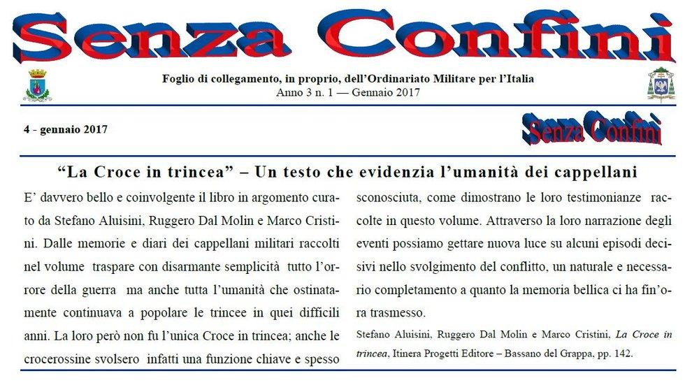 La recensione pubblicata sul foglio di collegamento dell'Ordinariato Militare per l'Italia (1/2017)