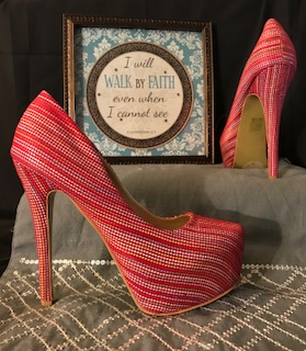 CR Collection Red Print Platform 5 inch Heel Pumps               Size 7.5