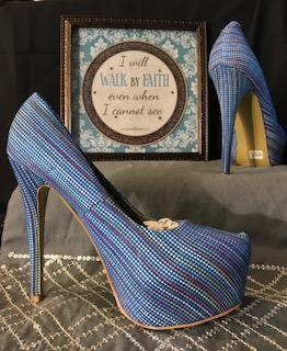 CR Collection Blue Print Platform 5 inch Heel Pumps, Size 8  $29.97