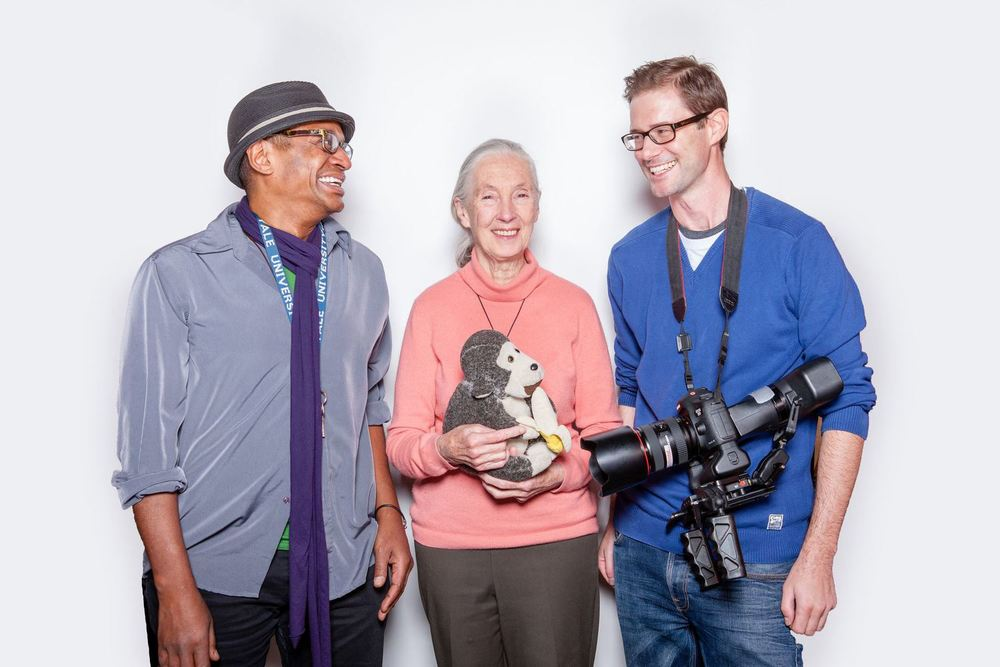 Gregory Kennedy-Salemi, Dr.  Jane Goodall, Stuart Jolley, December 2013, Vienna, Austria.