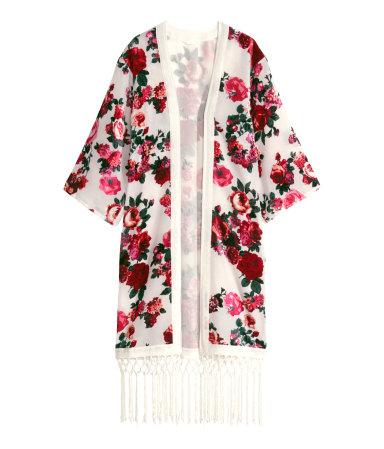 h&m fringe kimono