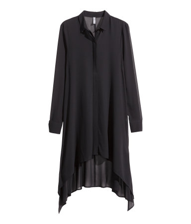 h&m long chiffon blouse black