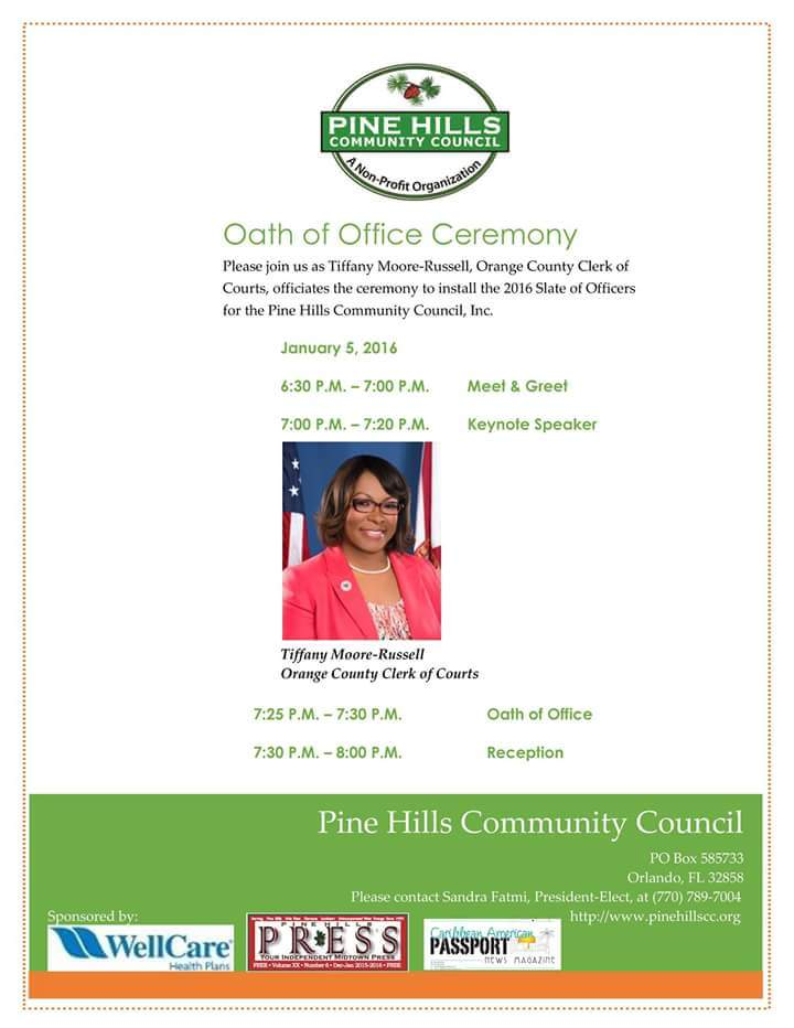 Oath Of Office Pine Hills Community Council — United Foundation of
