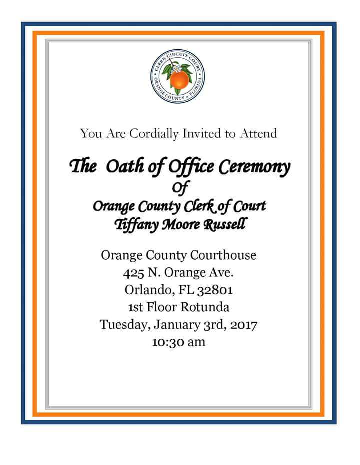 Oath Of Office Orange County Clerk Of Court Tiffany Moore Russell