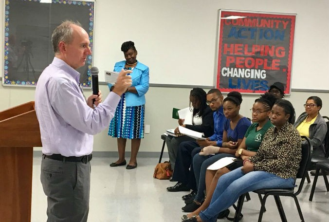 Students from Future Leaders United at Evans High School attended the Pine Hills community meeting Tuesday and engaged Orange County Tax Collector Scott Randolph on taxes and the budget. (Erin Murray, Staff)