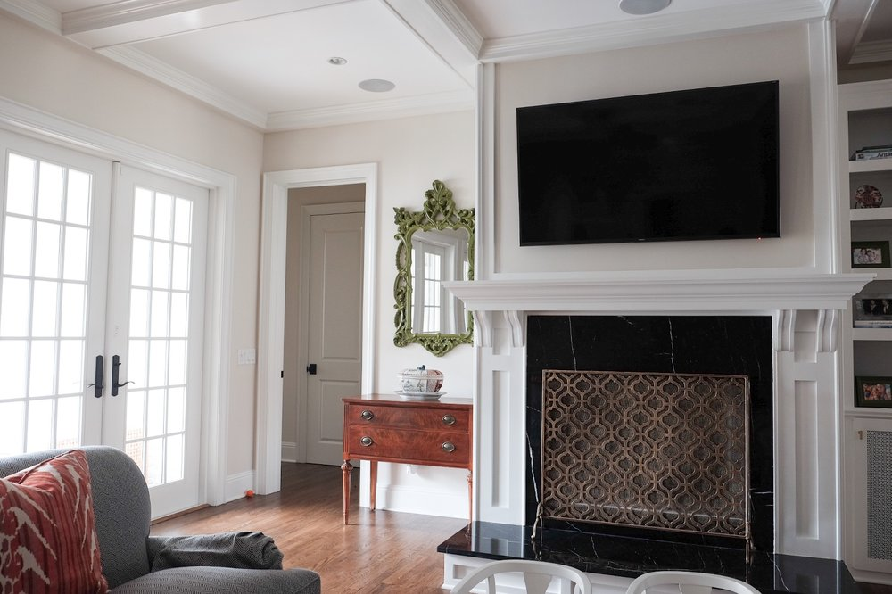 custom fireplace surround and coffered ceilings | Tampa, FL