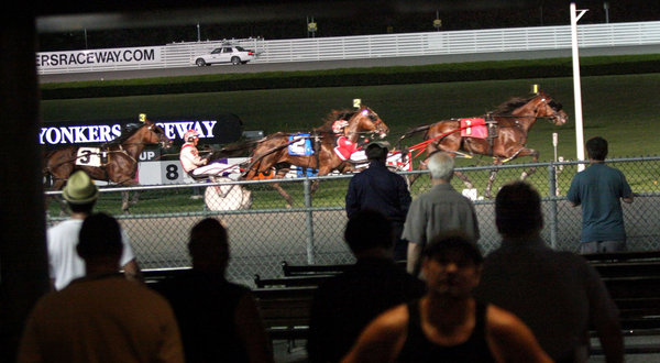 "The New York Times    At Yonkers, Anger and Shrugs Over Trainer's Suspension  YONKERS — Vin removed his glasses from the collar of his sleeveless shirt and placed them on to see his horse lose the seventh race at Yonkers Raceway on Tuesday night. ""Just trying to lose some money,"" said Vin, who offered no last name. ""Which is easy to do here."""