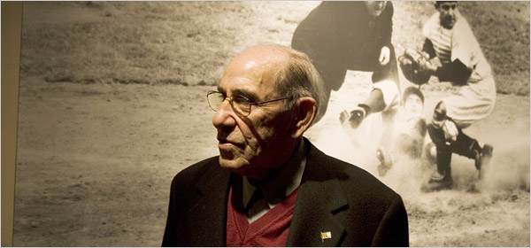 The New York Times    Larsen and Berra Together Again  Crowded by spectators, confronted by more than a dozen cameras and stuck underneath a rig of lights, Don Larsen sat stiffly at the Yogi Berra Museum in Little Falls, N.J., on Monday afternoon. Then the man who had leaped into his arms to celebrate his perfect game in the 1956 World Series entered the room.