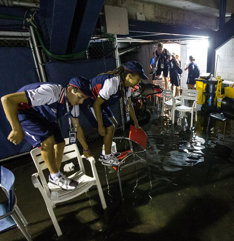 The New York Times   Rain Alters Schedule and Fans' Mood  Heavy rain at the United States Open on Monday left hundreds of fans upset after a delay of four and a half hours led tournament officials to move a marquee matchup and to cancel another. More than 300 people lined up outside Armstrong.