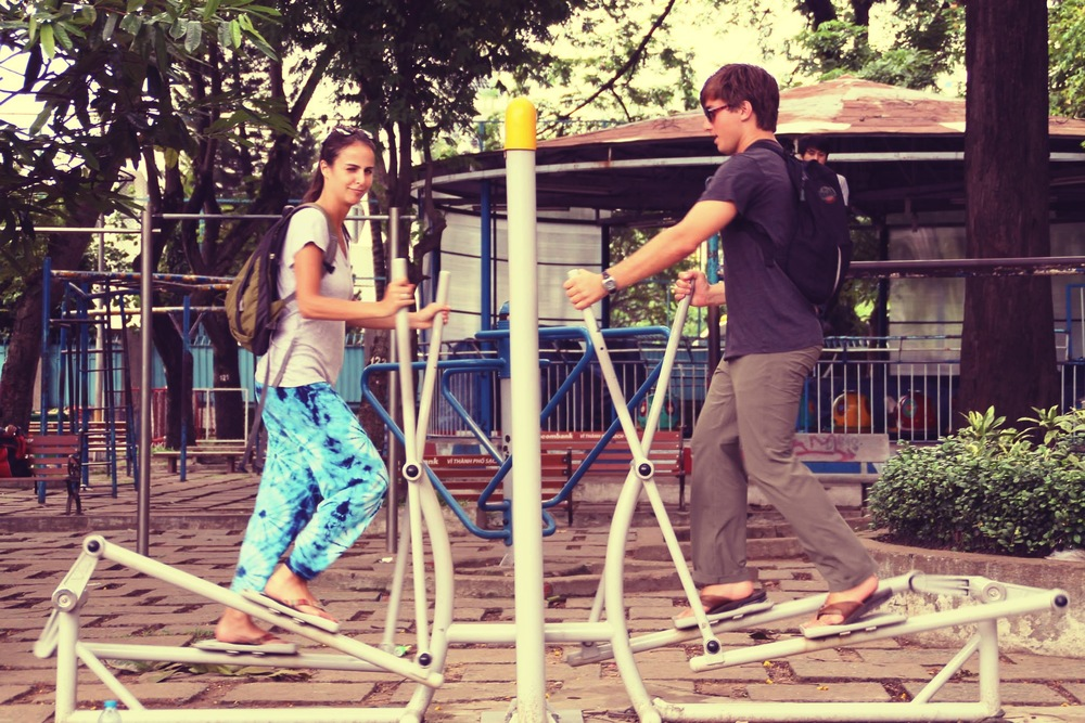 Nothing brings a couple together faster than Thai calisthenics!