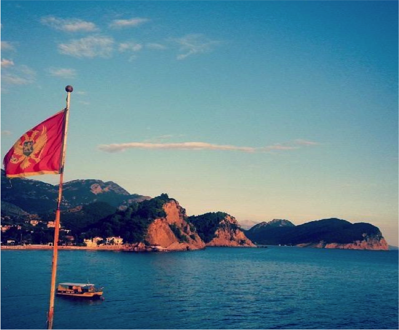montanegro flag on bay of kotor