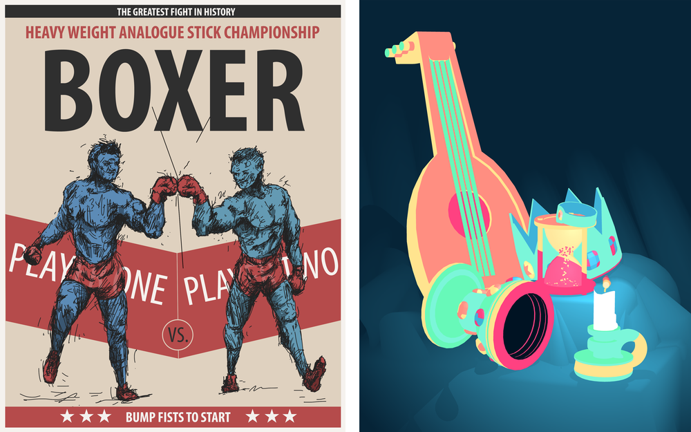 LEFT: Boxer by Ben Crooks and RIGHT: Vignettes by Pol Clarissou