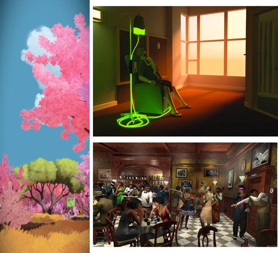 Clockwise from left: Artwork from The Witness, That Dragon, Cancer, and Dateline: Bronzeville