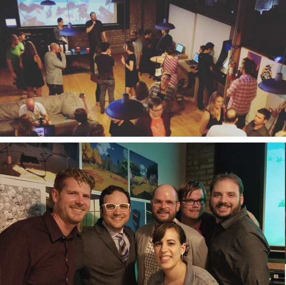 Hardcore Casual 2016 on September 8. 2016 at the Indie City Co-op (Left to Right: Jonathan Kinkley, John Teti, Chaz Evans, Jen Rhodes, Brice Puls and Ross Hersemann)