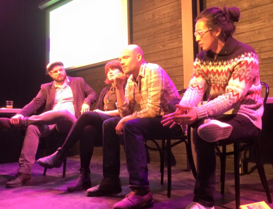 Psychedelic Tourism at Cards Against Humanity's Black Box Gallery in partnership with Chicago Design Museum (March 2016) Pictured left to Right: Chaz Evans, Paloma Dawkins, Greg Wohlwend, William Chyr
