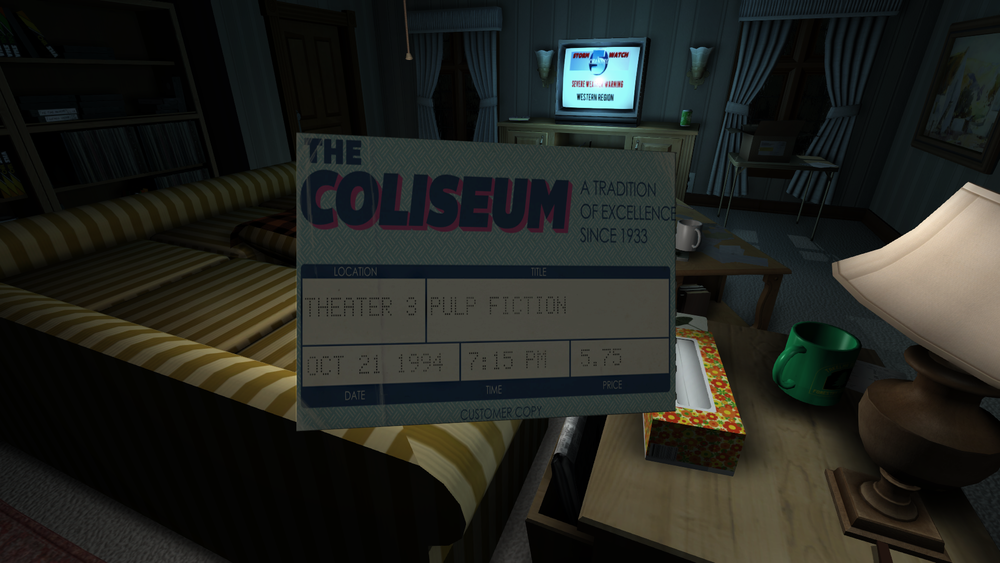 Gone Home , Movie Ticket, 2013. Image courtesy of The Fullbright Company.