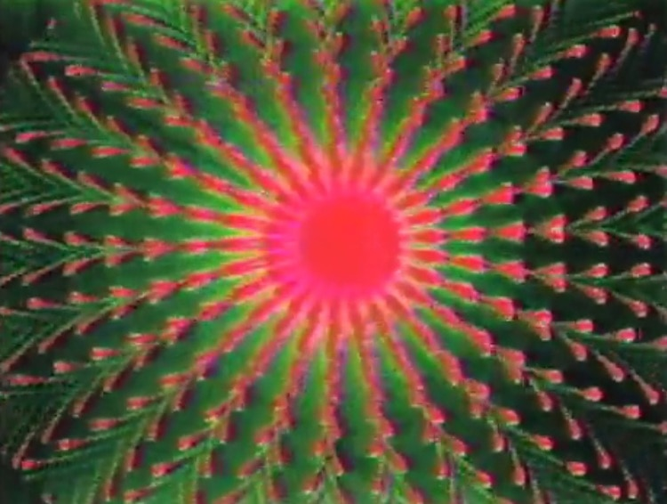 Dan Sandin, Tom DeFanti and Mimi Shevitz,  Spiral PTL , Video, 1980, Collection of the Video Data Bank.