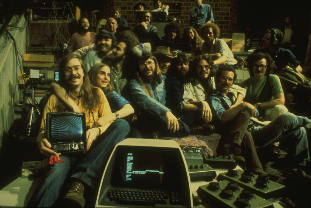 Participants in live computer video performance at electronic visualization event 2 in Chicago. Photo by Clark Dodsworth. 1976