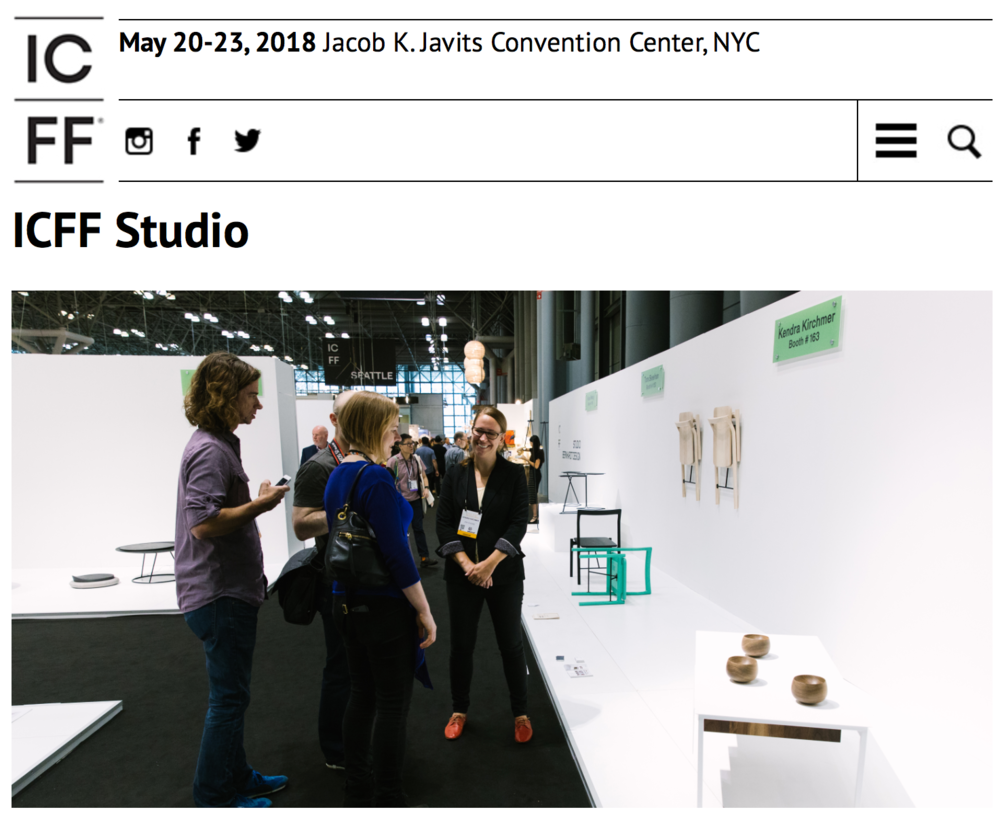 Screenshot showing our booth on Opening Day from the 2017 show from: http://www.icff.com/show/icff-studio/