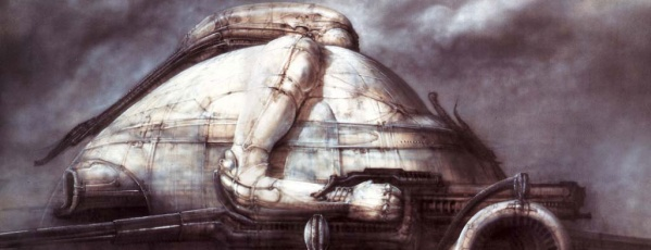H.R. Giger's concept art for House Harkonnen's dome in Jodorowky's Dune.  The concept was reused 40 years later in Ridley Scott's Prometheus.