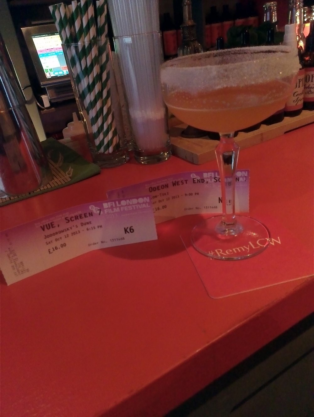 LLF tickets keeping a Remy Martin Sidecar cool at Opium Chinatown