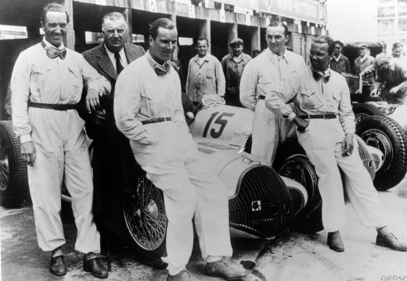 The Team.  Left to right: von Brauchitch, Neubauer, Dick, Lang and Caracciola