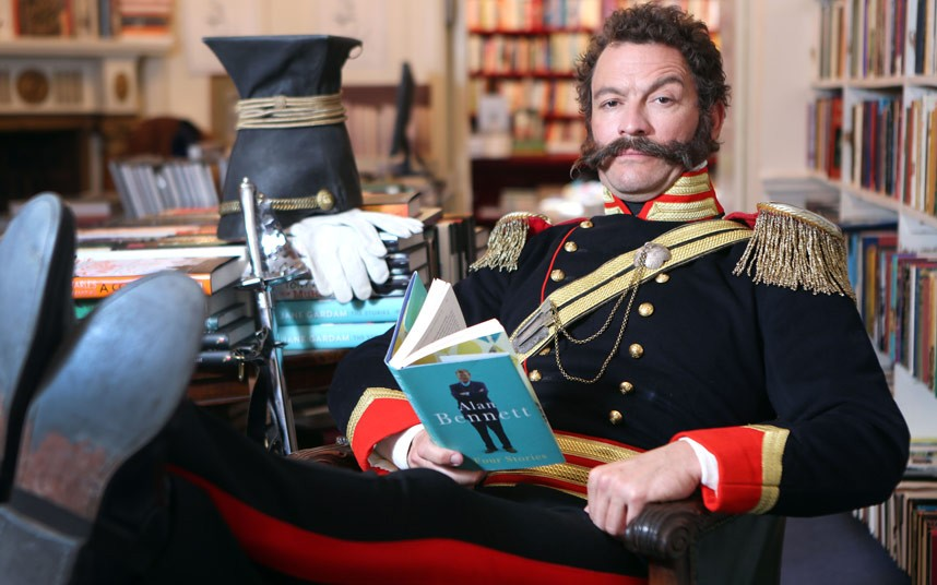 Dominic West in full Flashy fig at the sale of George MacDonald Fraser's Library.