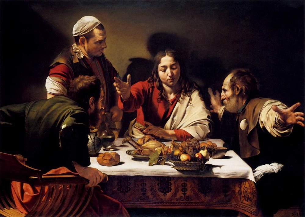 The Supper at Emmaus  By Caravaggio, 1601. Click to enlarge.