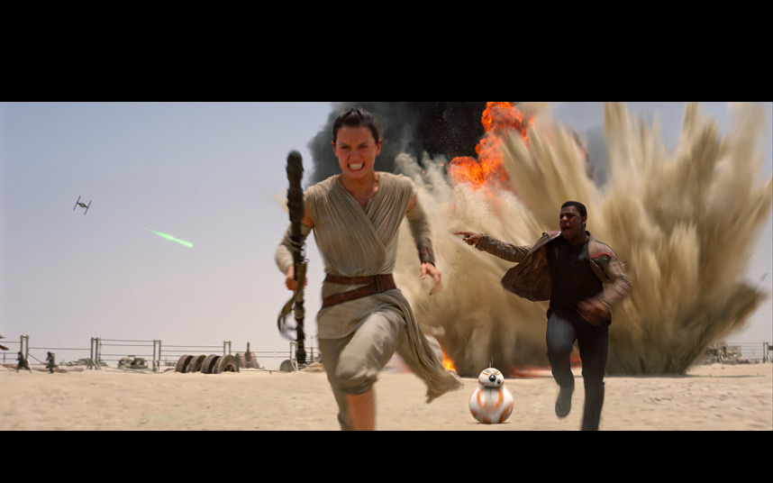 Daisy Ridley and John Boyega as Rey and Finn.