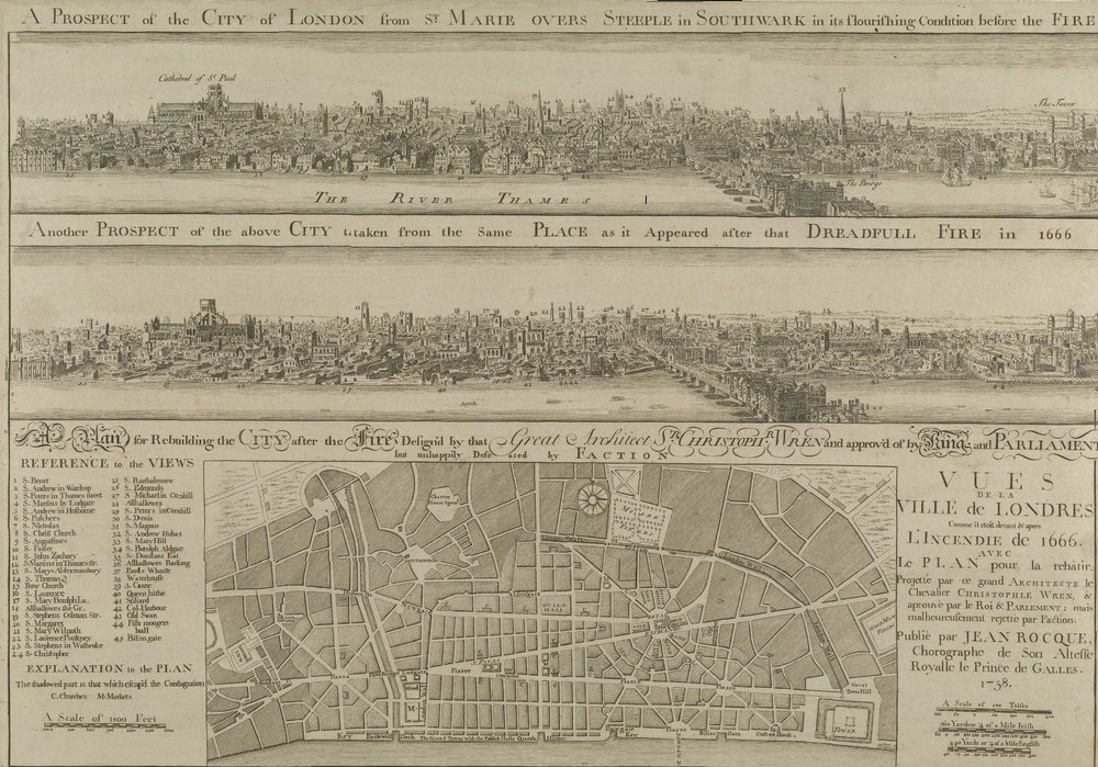 Wenceslaus Hollar's illustration of London before and after the fire.