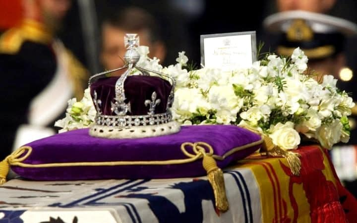 The Koh-i-noor in the Queen Mother's Crown as the Queen Mother laid in state, April 2002.