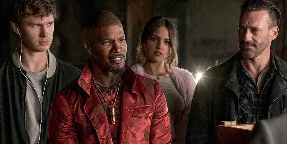 The Crew L-R: Ansel Egort as Baby, Jamie Foxx as Bats, Eiza Gonzalez as Darling and Jon Hamm as Buddy