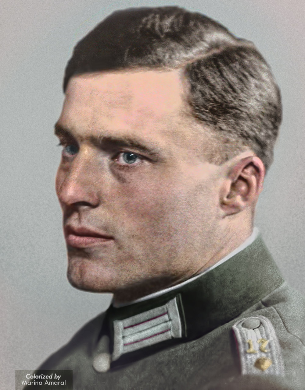 Oberstleutnant Claus von Stauffenberg, mastermind of the 20th July plot.  Colour by  Marina Amaral .