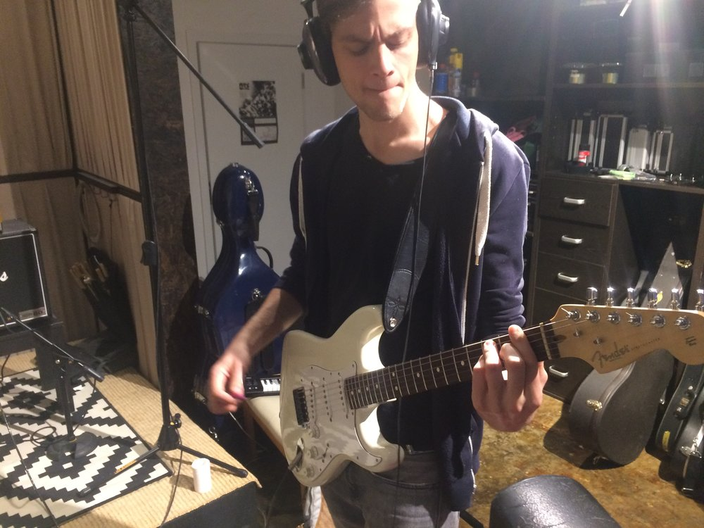 Ben in studio laying down some sweet riffs on Goodbye, and upcoming track on the new album.