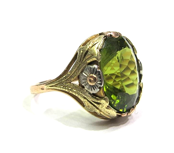 14K yellow, rose, and green gold ring with a 7.81ct peridot, at Gray & Davis.